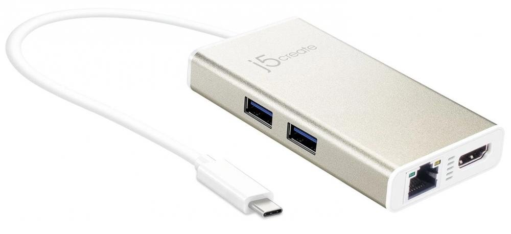 j5create USB-C HDMI Ethernet USB 3.0 Type-A PD 2.0 (золотой)