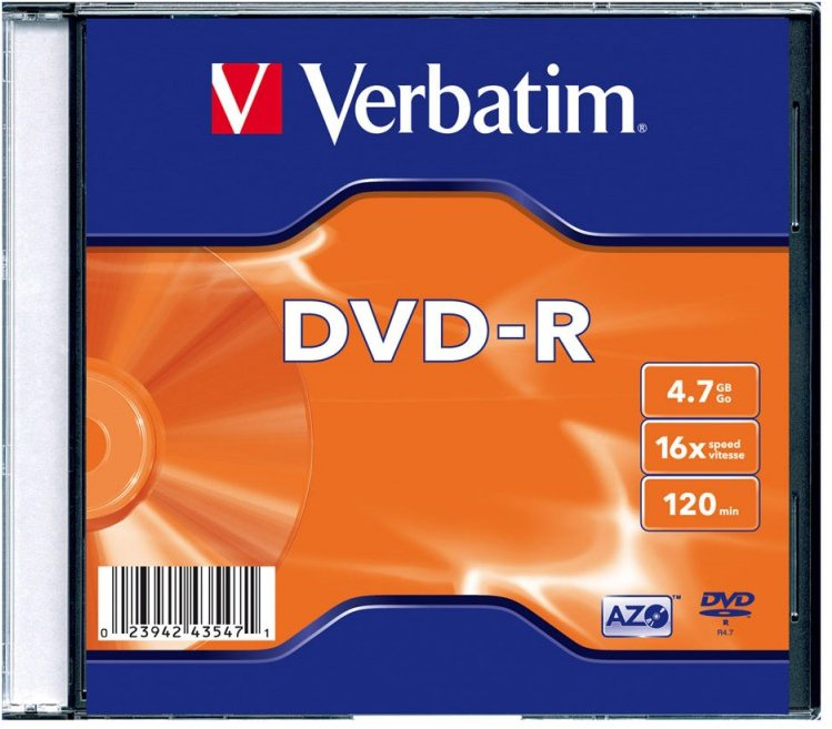 Фото - Verbatim DVD-R 4.7Gb 16x Slim case, 1шт verbatim 43343