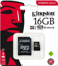 Карта памяти Kingston Canvas Select microSDHC 16Gb Class10 + адаптер
